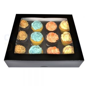 Premium 12 Black Cupcake Window Box with 6cm Divider