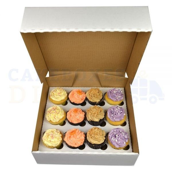 12 Cupcake (Corr) white Box with 6cm Dividers