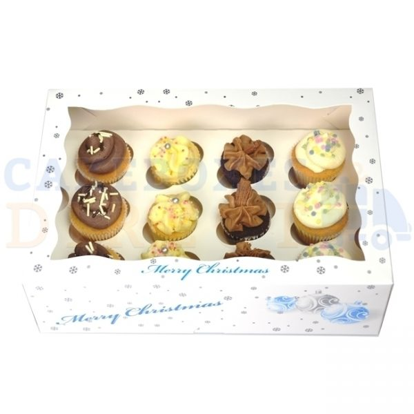 12 Mini Christmas White Cupcake Window Box with 3.5cm Divider