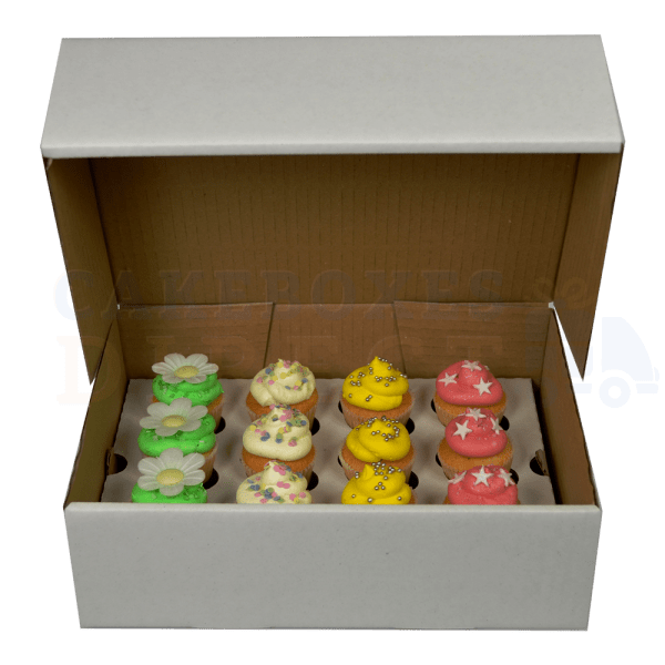12 mini (Corr) White cupcake box with 3.5cm divider