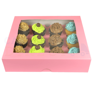 Premium 12 Pink Cupcake  window Box with 6cm Divider