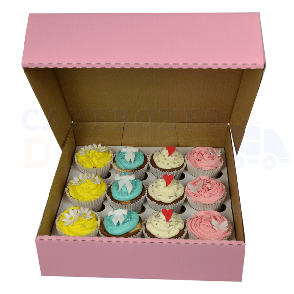 12 Cupcake (Corr) Box (Pink) with 6cm Dividers