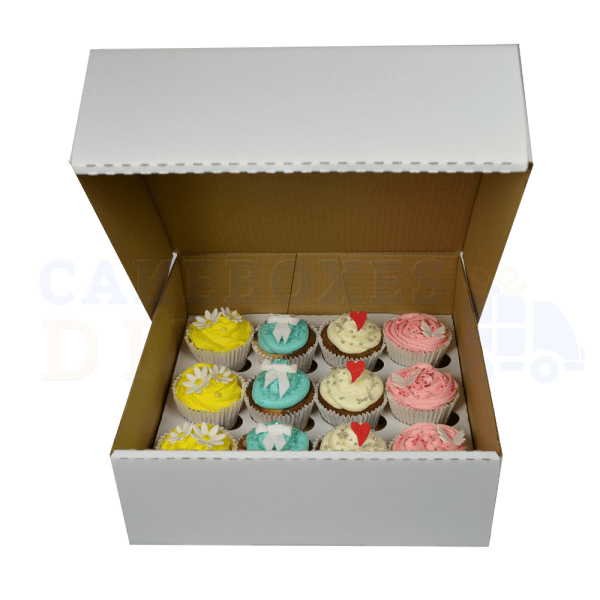 12 mini deep cupcake (Corr) White box with 3.5cm divider