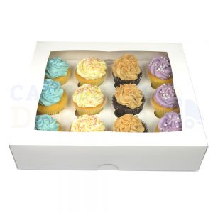 Premium 12 Cupcake White Window Box with 6cm Divider