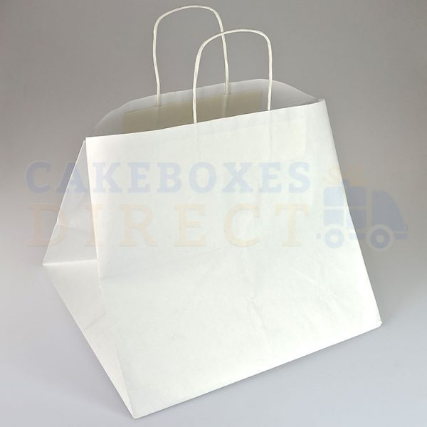 12 Cupcake White Paper Carrier Bag Twist Handle 365 x 330 x 320 mm (Qty 100)
