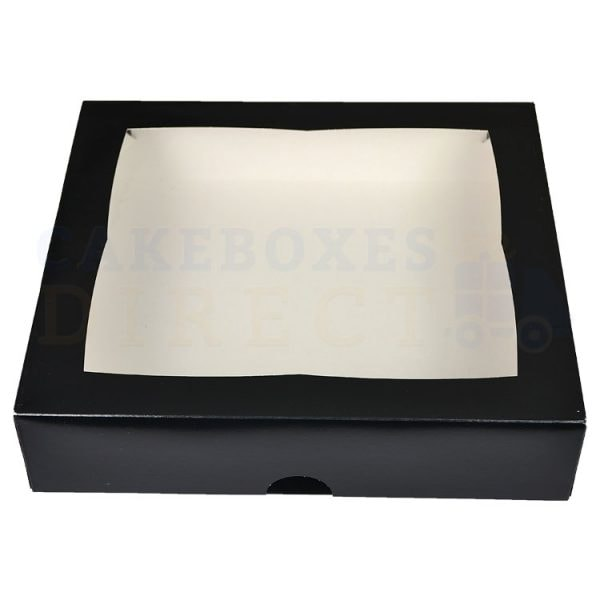 Premium Black Window Cake Box 12.75x11.5x3 in