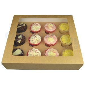 Premium 12 Kraft Cupcake  window Box with 6cm Divider