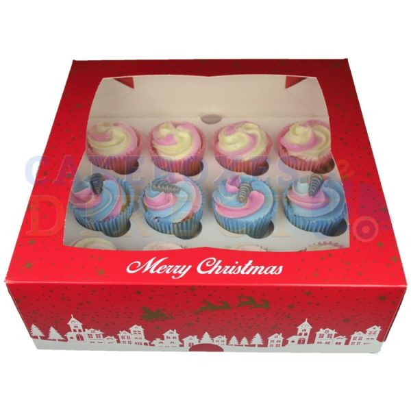 12 Premium Xmas Ex Deep Cupcake Window Box with 6cm Divider