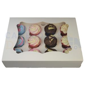 12 Economy White Cupcake Window Box with 6cm Divider