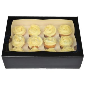 Premium 12 Mini Cupcake Black Window Box with 3.5cm Divider