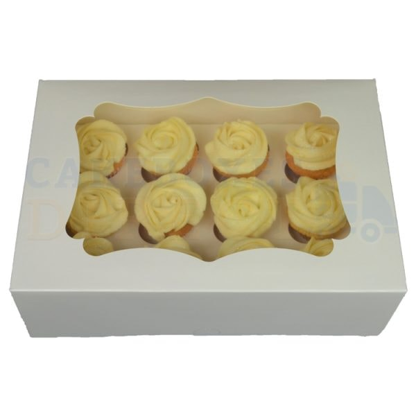 12 Mini Economy White Cupcake Window Box with 3.5cm Divider