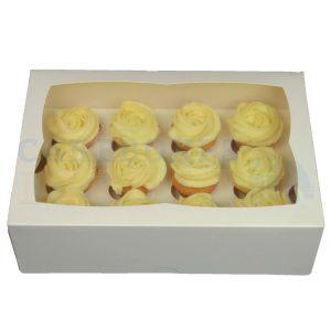 Premium 12 Mini Cupcake White Window Box with 3.5cm Divider