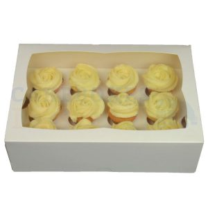 Premium 12 Mini White Ex Deep Cupcake Window Box with 3.5cm Divider