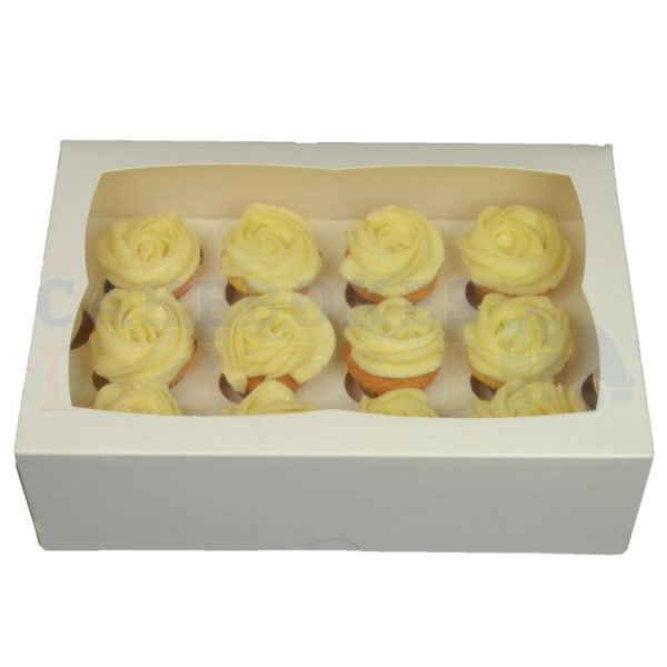 Premium 12 Mini White Ex Deep Cupcake Window Box with 3.5cm Divider