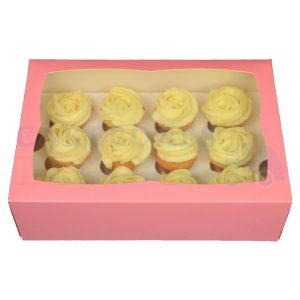 Premium 12 Mini Cupcake Pink Window Box with 3.5cm Divider