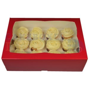 Premium 12 Mini Cupcake Red Window Box with 3.5cm Divider