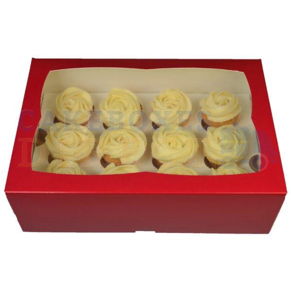 Premium 12 Mini Cupcake Red Window Box with 3.5cm Divider