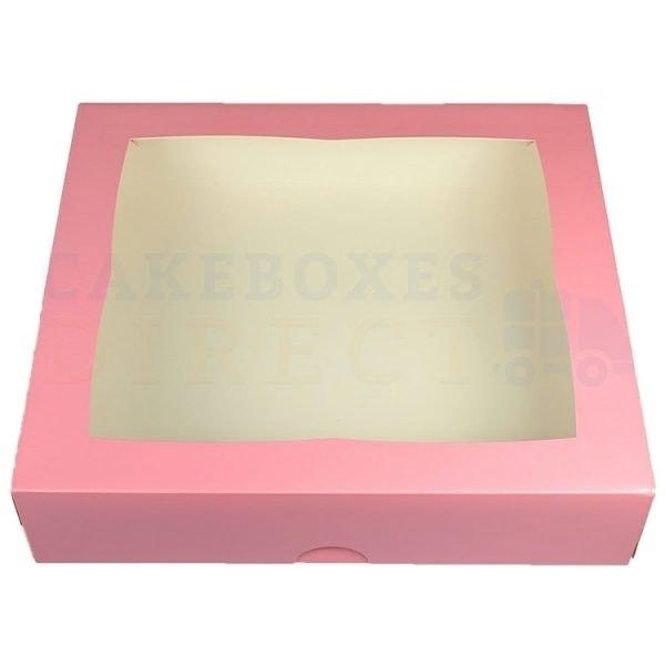 Premium Pink Window Cake Box 12.75x11.5x3 in