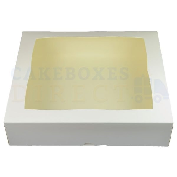 Premium White Window Cake Box 12.75 x 11.5 x 3 in.