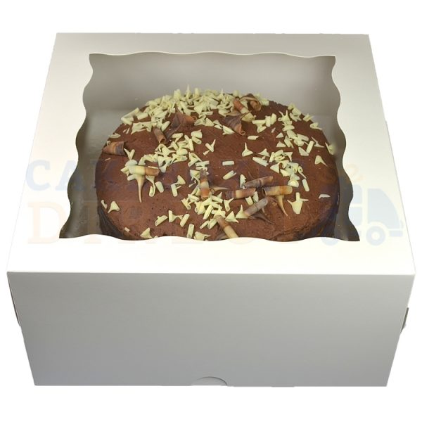 12x12x6in. Premium White Window Gateaux Box