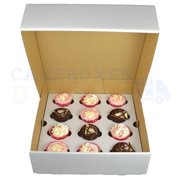 12 Cupcake (Corr) White Extra Deep/Wide Box with 6cm Dividers