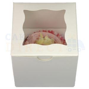 Single Premium Cube White Cupcake Window Box with 6cm Divider