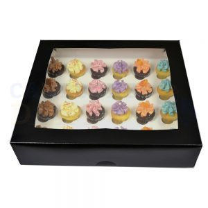 24 Mini Cupcake Black Window Box with 3.5cm Divider