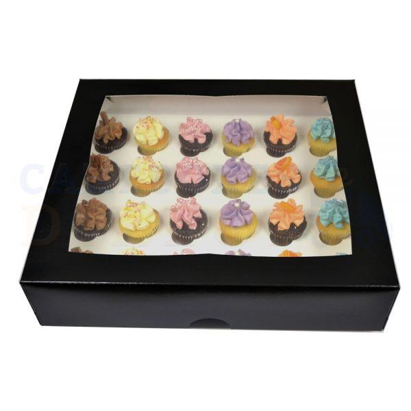 24 Mini Cupcake Black Window Box with 3.5cm Divider