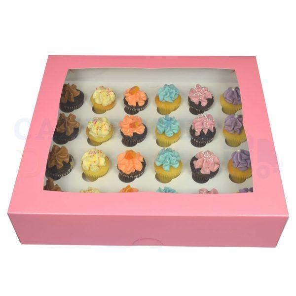 Premium 24 Mini Cupcake Pink Window Box with 3.5cm Divider