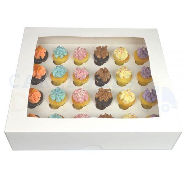 Premium 24 Mini Cupcake White  Window Box with 3.5cm Divider