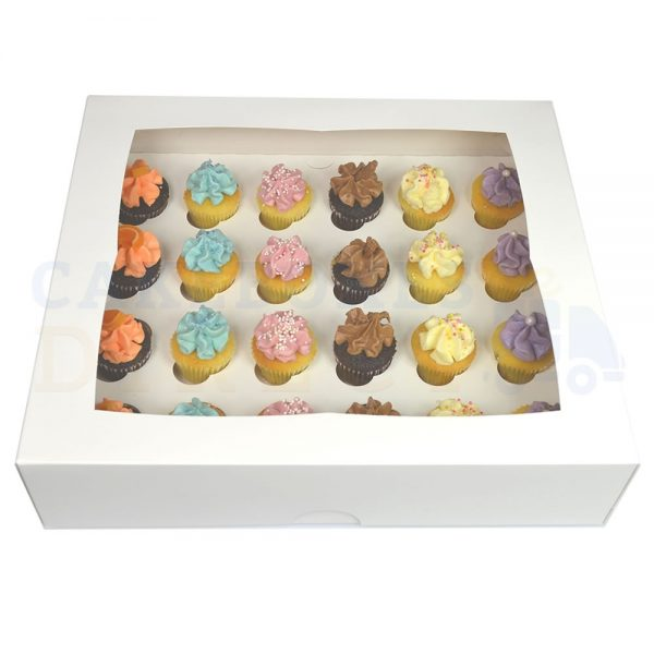 Premium 24 Mini White Ex Deep Cupcake Window Box with 3.5cm Divider