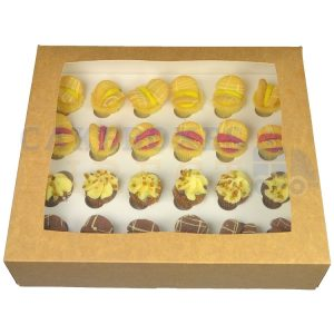 Premium 24 Mini Cupcake Kraft Window Box with 3.5cm Divider