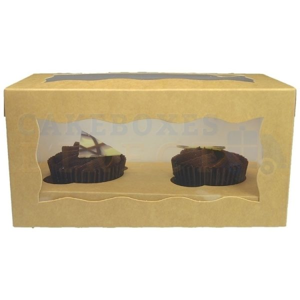 Double Premium Kraft Cupcake Window Box with 6cm Divider