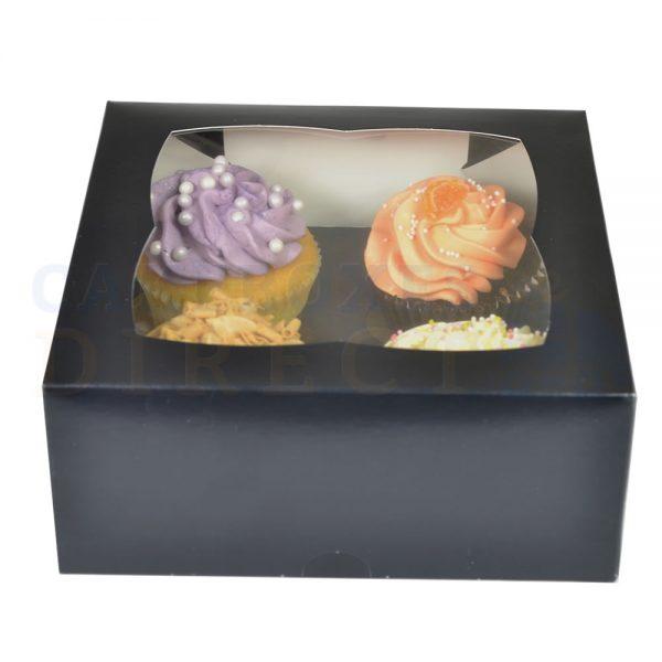 4 Premium Black Cupcake Window Box with 6cm Divider
