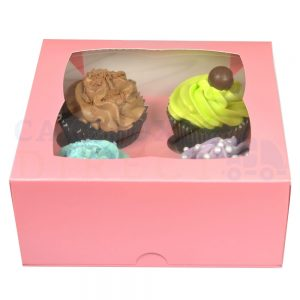 4 Premium Pink Cupcake Window Box with 6cm Divider