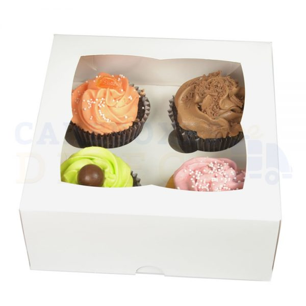 4 Premium White Cupcake Window Box with 6cm Dividers