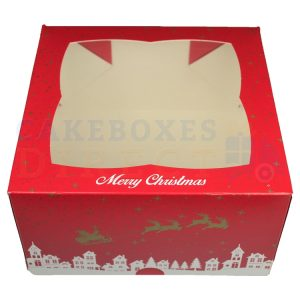 Premium Xmas Ex Deep Window Cake Box 7x7x4 in.
