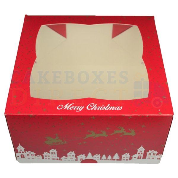 Premium Xmas Ex Deep Window Cake Box 7x7x4 in.