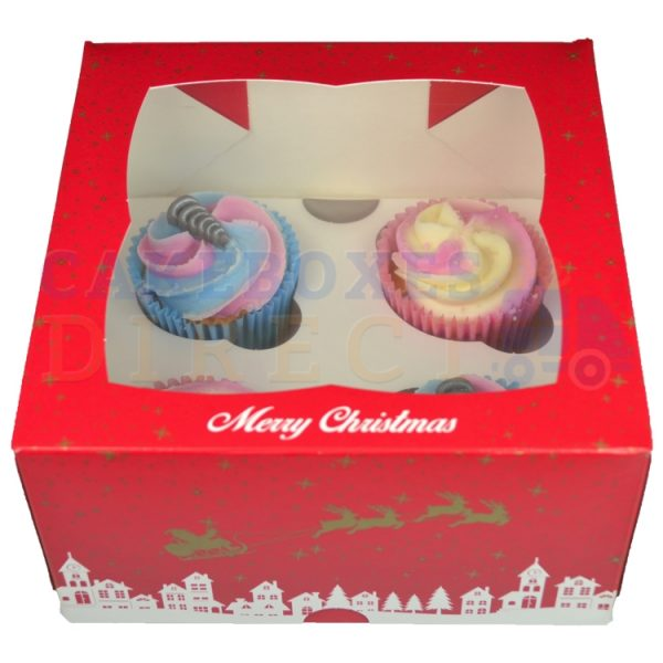 4 Premium Xmas Ex Deep Cupcake Window Box with 6cm Divider