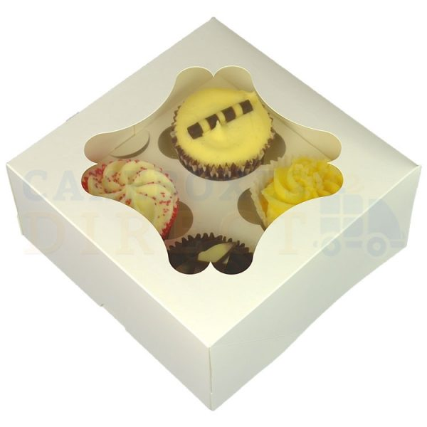 4 Economy White Cupcake Window Box with 6cm Dividers