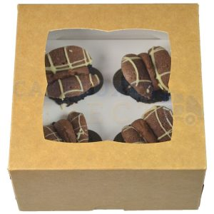 Premium 4 Mini Kraft Cupcake Window Box with 3.5cm Divider