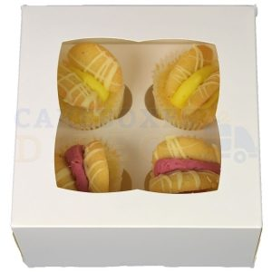 Premium 4 Mini White Cupcake Window Box with 3.5cm Divider