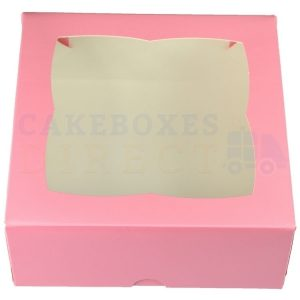 Premium Pink Window Cake Box  7x7x3 in