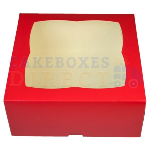 Premium Red Window Cake Box  7x7x3 in