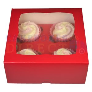 4 Premium Red Cupcake Window Box with 6cm Divider