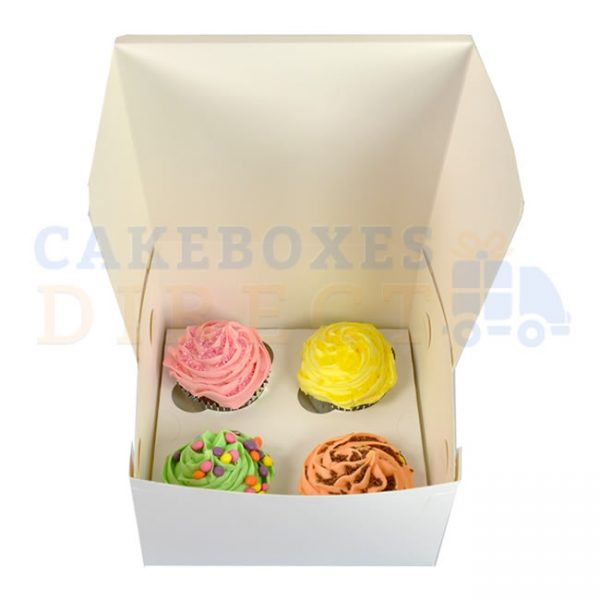 4 Economy (WF7x7x4) Cupcake Box with 6cm Dividers (Qty 100)