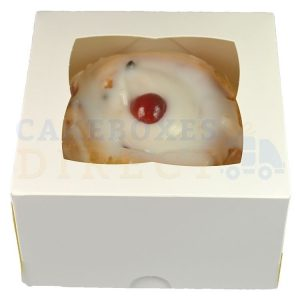 5x5x3in. Premium White Window Cake Box