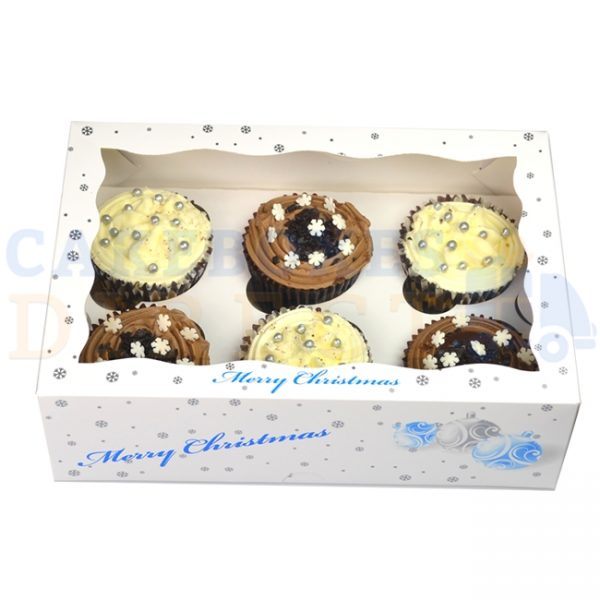 6 Christmas White Cupcake  Window Box with 6cm Divider