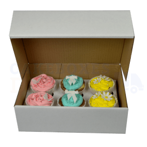 "6 White Cupcake (Corr) Box and Dividers (3"")"
