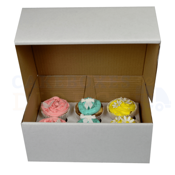 6 White Ex Deep Cupcake (Corr) Box and Dividers 4""